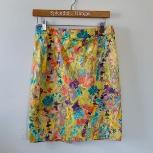 JCREW Multicolored Floral Pencil Skirt